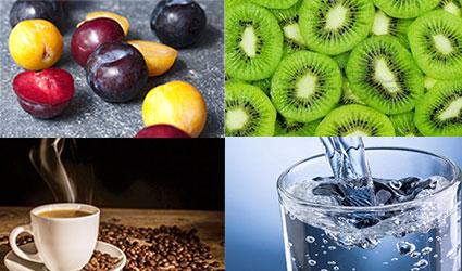 آلو،کیوی، قهوع و آب انواعی از ملین ها