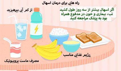 غذاهایی که زمان اسهال باید مصرف کرد