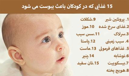 غذاهایی که در کودکان منجر به یبوست می شود